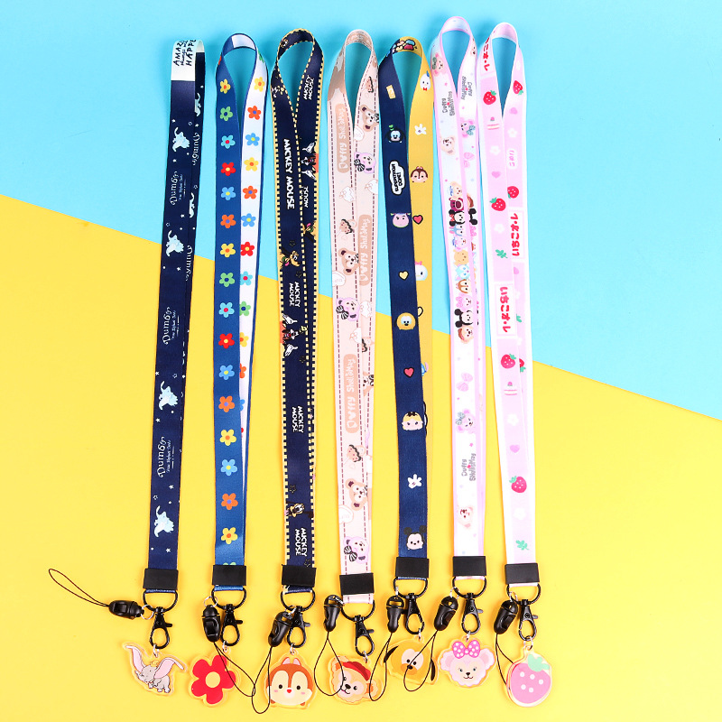 Cute Cartoon Duffy Bear Dumbo Pendant Popular Lanyards For Key Mobile Phone Straps ID Card Keychain Holder DIY Hang Rope