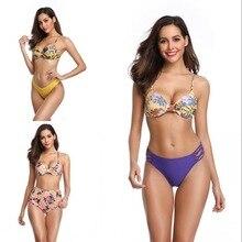 Micro Bikini  Women Floral Swimwear Bandage Bikini Set with Push-up Padded Bras Triangle Body suits