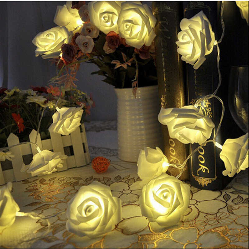 2M battery LED artificial rose flower holiday rope lights for wedding Valentine party decoration garland lover gift garden lamp