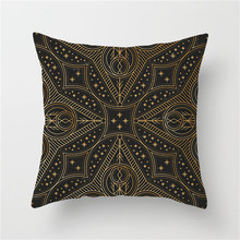 Fuwatacchi Cushion Cover Endless Pillow Geometric Flower Decorative Gold Black Moon Printed Pillowcase for Home Sofa