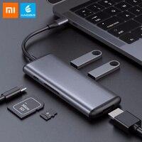 Оригинальный Xiaomi hagибис type-C многофункциональный конвертер двойной USB 3,0 адаптер данных для HDMI SD/TF для Macbook samsung компьютера