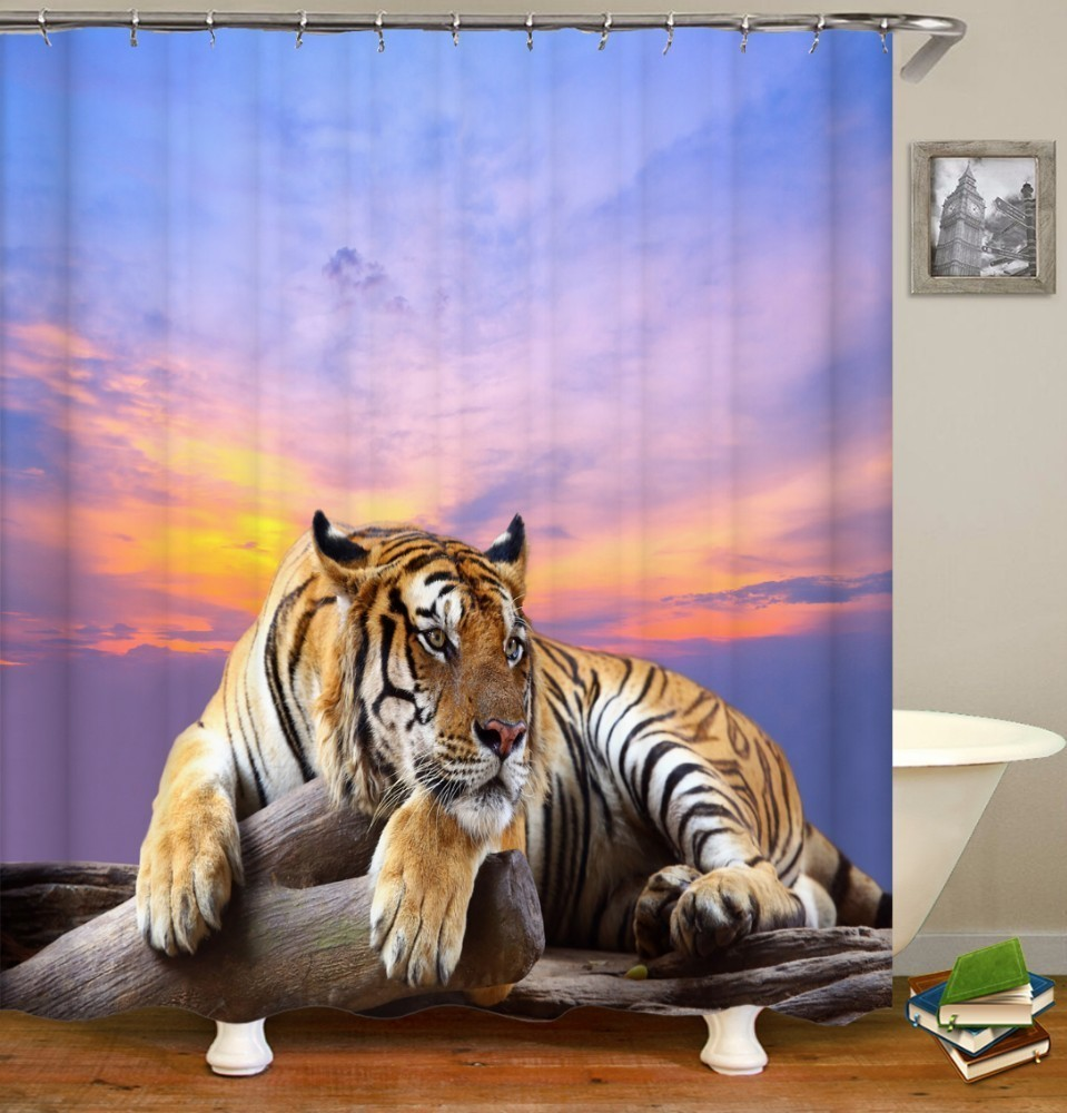 Image 4 - VOZRO 2 M Quality Proof 3d bathroom duschvorhang Manufacturing Lion pattern shower curtain douchegordijn pascoa cortina banheiro-in Shower Curtains from Home & Garden