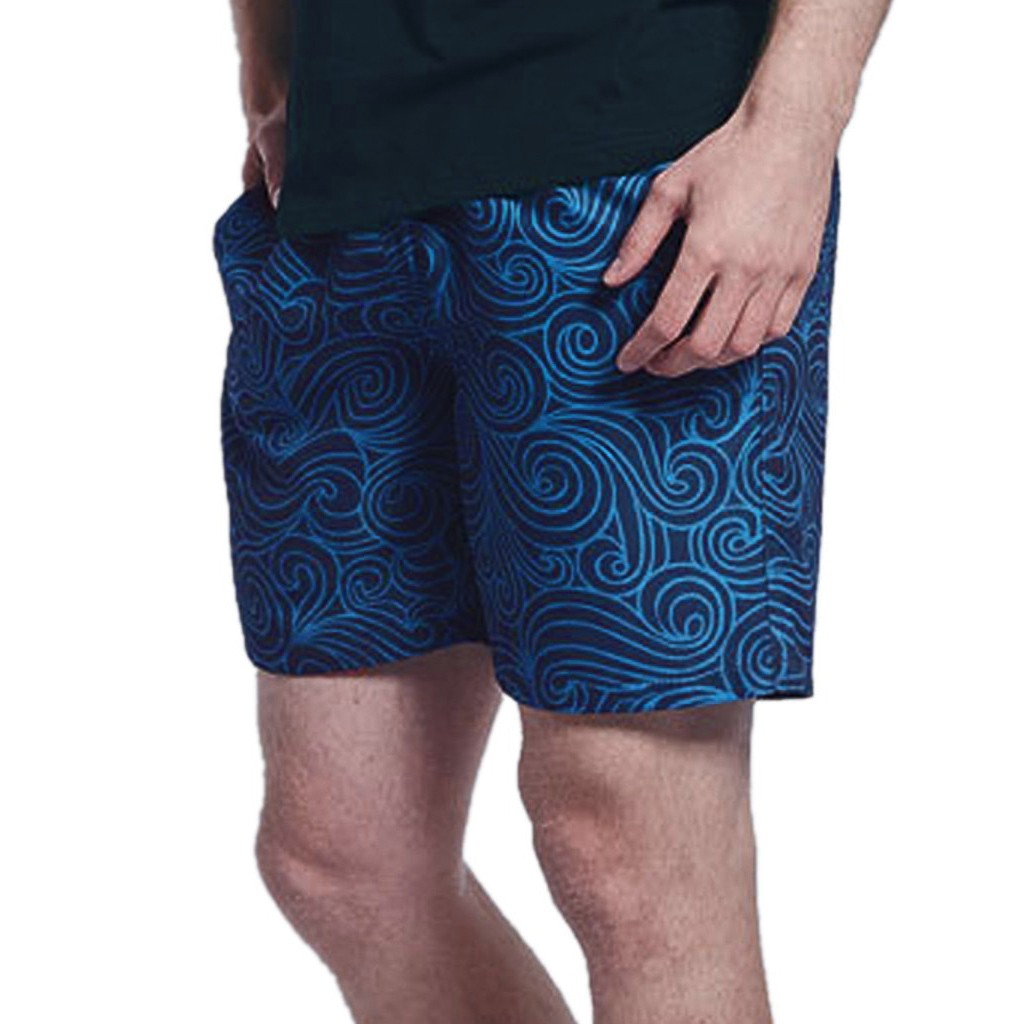 2019 New Hot Mens Blue Drawstring Printing Swimming Trunks Elastic Waist Quick Dry   Board     Shorts   Summer Sport Surfing   Short   Homme