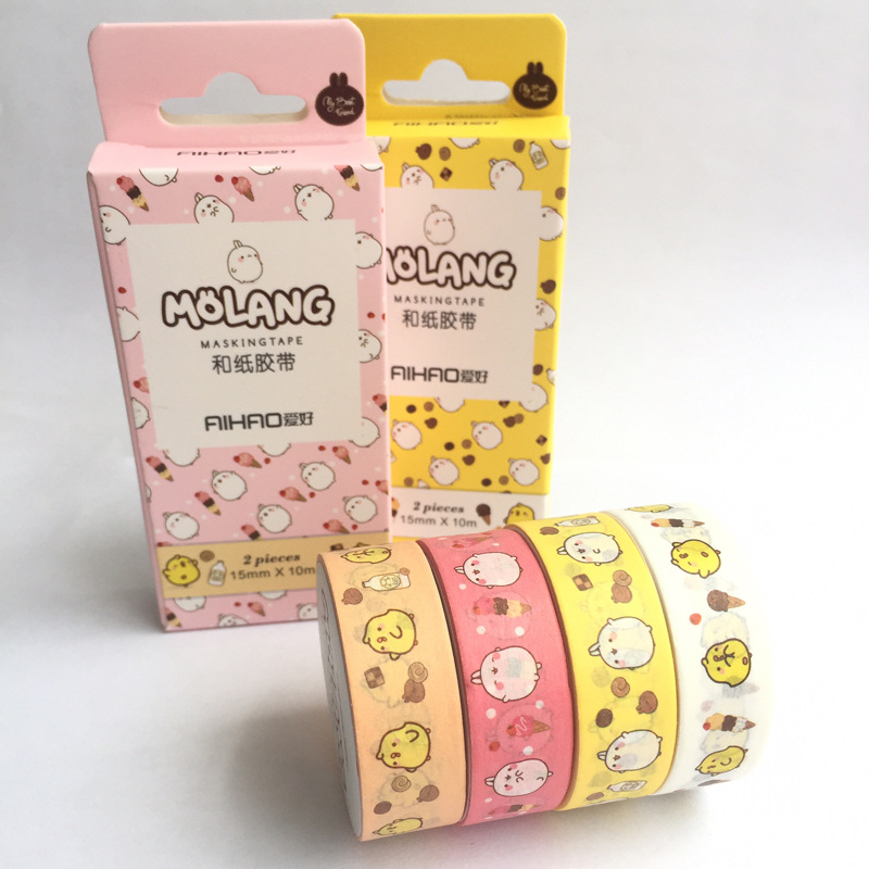2 Pcs/pack Creative Molang Pet Washi Tape Adhesive Tape DIY Scrapbooking Sticker Label Craft Masking Tape