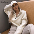 Hugcitar long sleeve zipper high neck Faux lambswool crop tops 2018 autumn winter women fashion solid coat jacket
