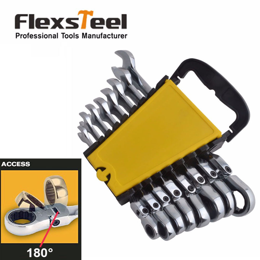 Flexsteel 8PC Flexible Head Ratcheting Combination Wrench Spanner Set Metric 8,10,11,12,13,14,15,17MM In CR-V Quality veconor 7 pieces flexible head ratchet wrench spanner set combination key wrench set 10 19mm