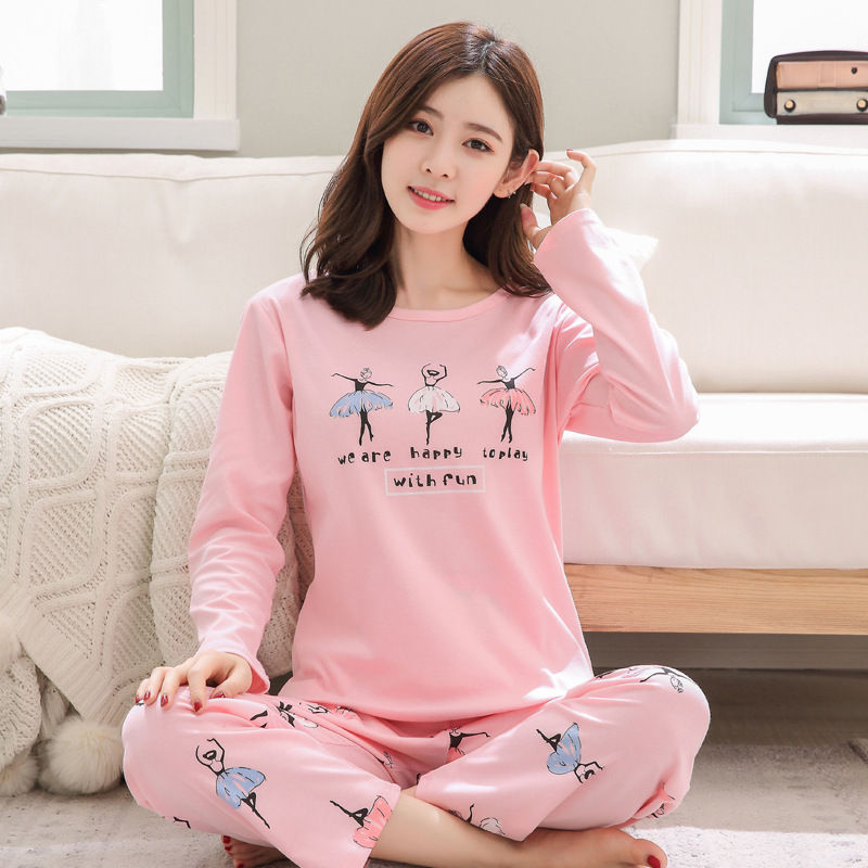 2018 Women   Pajamas     Sets   Autumn Winter Cotton Sexy Home Suit Sleepwear long Sleeve Pyjamas Comfortable Girl shirt+ pants   Pajamas