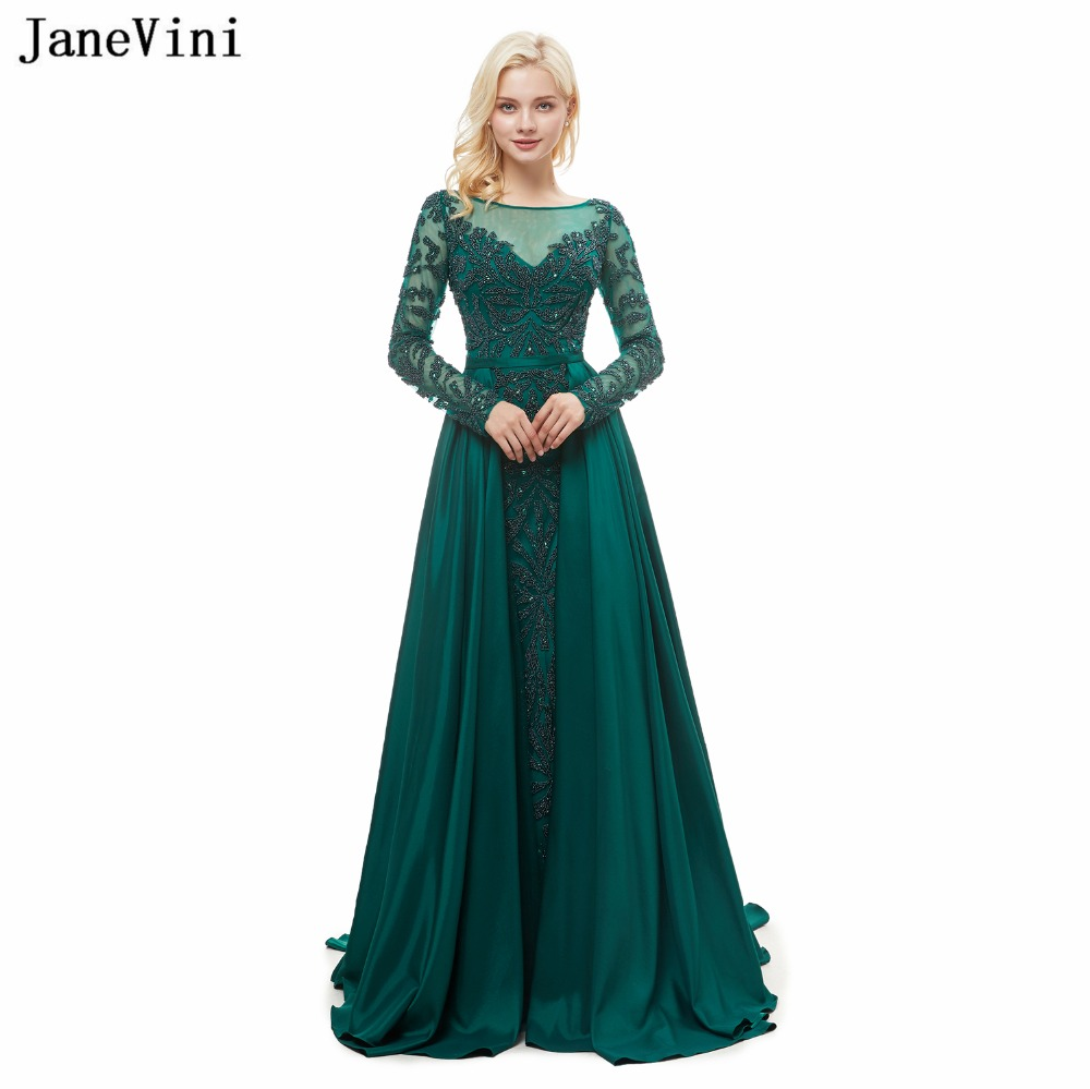 JaneVini 2018 Elegant Long Sleeves Dark Green Mermaid   Bridesmaid     Dresses   Scoop Neck Sweep Train Luxury Beading Satin Prom Gowns