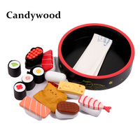 Candywood Wooden Sushi Simulation Food Kitchen Toys set Japan Sushi Baby Pretend Play toys For Children girl Gifts