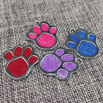 100pcs/lot Personality customization High Quality Fashion Popular Glitter Paw Footprints Puppy  Cat Pendant Lovely Pet Jewelry