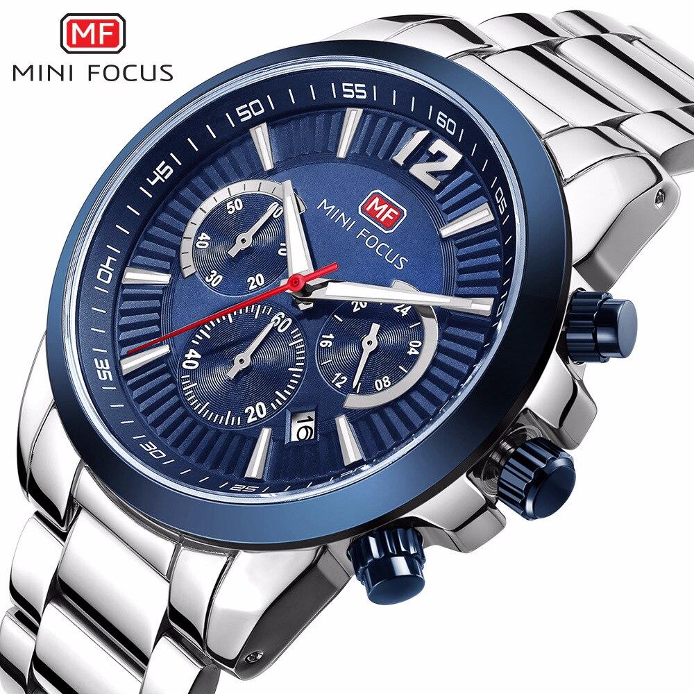 MINI FOCUS brand mens stainless steel quartz wristwatches business man watches waterproof calendar black blue silver man clocks mini stainless steel handle cuticle fork silver
