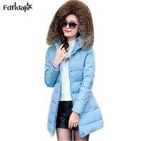 2016 New Coats Jackets Hooded Winter Snow Jacket Women Fur Collar Winter Coat Women Long Cotton