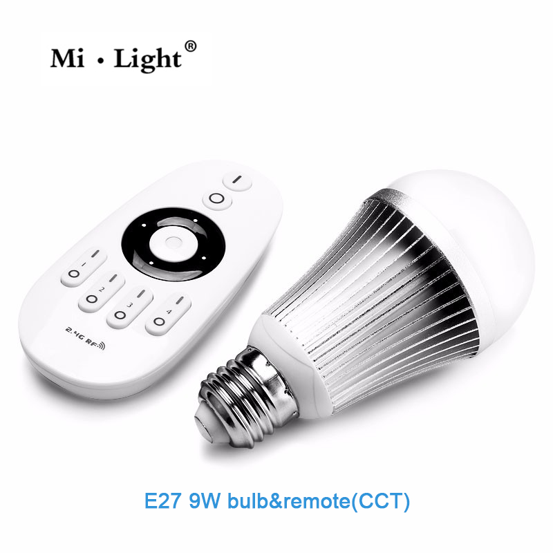 2.4G MiLight E27 9W Wireless Smart CW/WWLED Lamp Bulb + 2.4G RF CCT/DIM Remote Control For Good Reputation 2 4g milight e27 9w wireless smart cw wwled lamp bulb 2 4g rf cct dim remote control for good reputation
