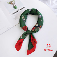 1PC Hot Sale Winter Scarves Woman 2018 Red and Green Patchwork Long Scarf Silk Square Feel Satin Skinny Warm Scarf Free Shipping(China)