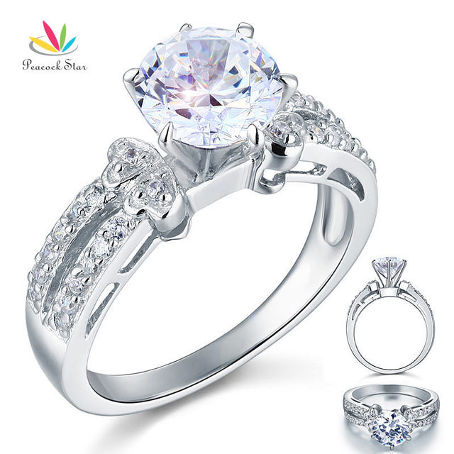 Peacock Star 2 Carat Created Diamond Solid 925 Sterling Silver Wedding Promise Engagement Ring Jewelry CFR8078