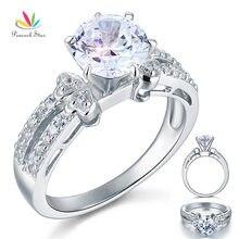 Estrella del pavo real 2 Carat Creado Diamante Sólido 925 Promesa de Compromiso Del Anillo de Bodas de Plata Esterlina Joyería CFR8078