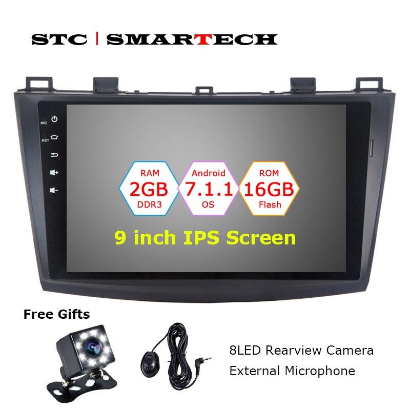SMARTECH AutoRadio 2 din Android 7.1.2 OS Car di Navigazione GPS per Mazda 3 Axela 9 pollice IPS Schermo Quad Core 2 gb di RAM CAN-BUS OBD