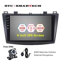 Smarttech Авторадио 2 din Android 7.1.2 OS автомобильный gps навигация для Mazda 3 Axela 9 дюймов ips экран четырехъядерный 2 Гб ram CAN BUS OBD