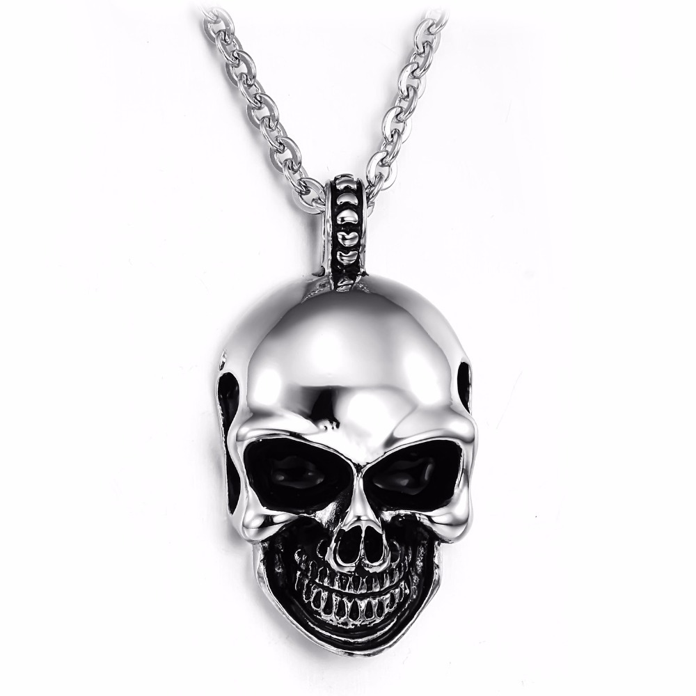 Skull necklace men 316l stainless steel men necklace fashion skull skull necklace men 316l stainless steel men necklace fashion skull pendant necklaces cool men jewelry wholesale gx807 in pendant necklaces from jewelry mozeypictures