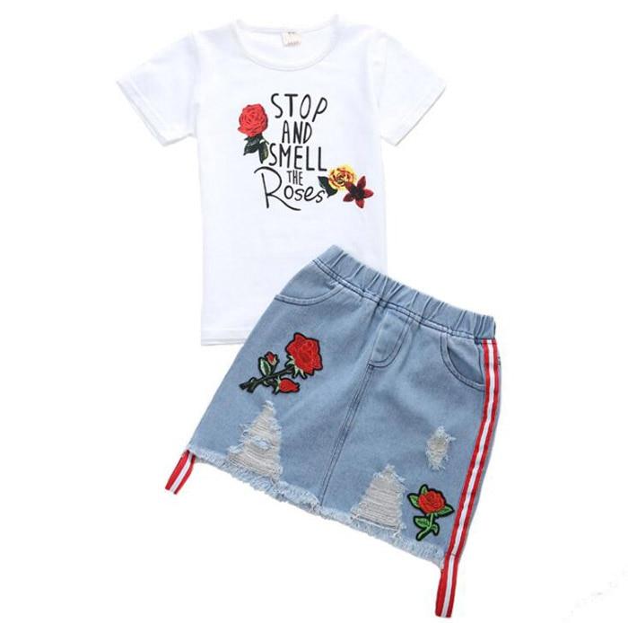 52e7bad97 2019 verano niños niñas Tops de algodón camiseta Rosa bordado Jeans falda  conjunto de ropa niña trajes para 6 8 10 12 14 años