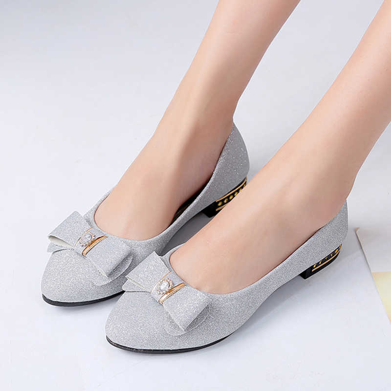 Spring Autumn Women Ballet Flats Pointed Toe Boat Shoes Silver Slip on Shoes  Woman Low heels b0cb0b1091a5