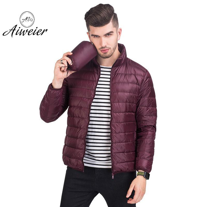 [Aiweier] Ultra Light Down Mens Jackets Male Winter Thin Stand Collar 90% Slim Zipper Korean Casual Down Coat For Man Jackets