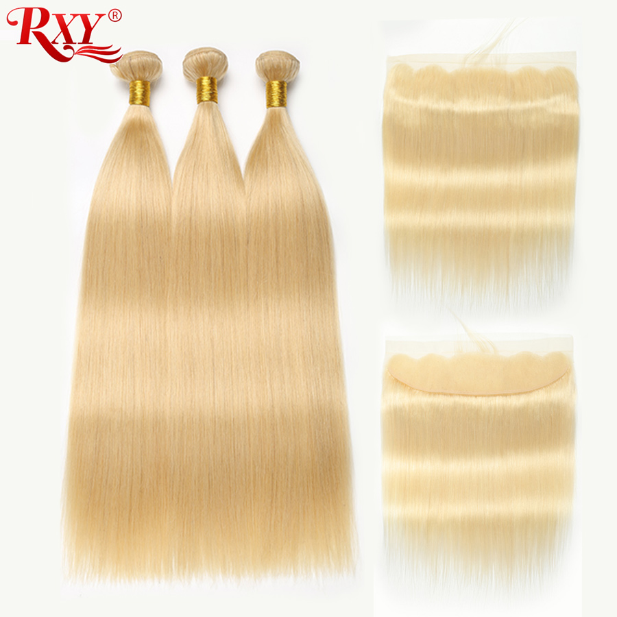 613 Bundles With Frontal Peruvian Hair Blonde 3 Bundles With Closure RXY Straight Human Hair Blonde