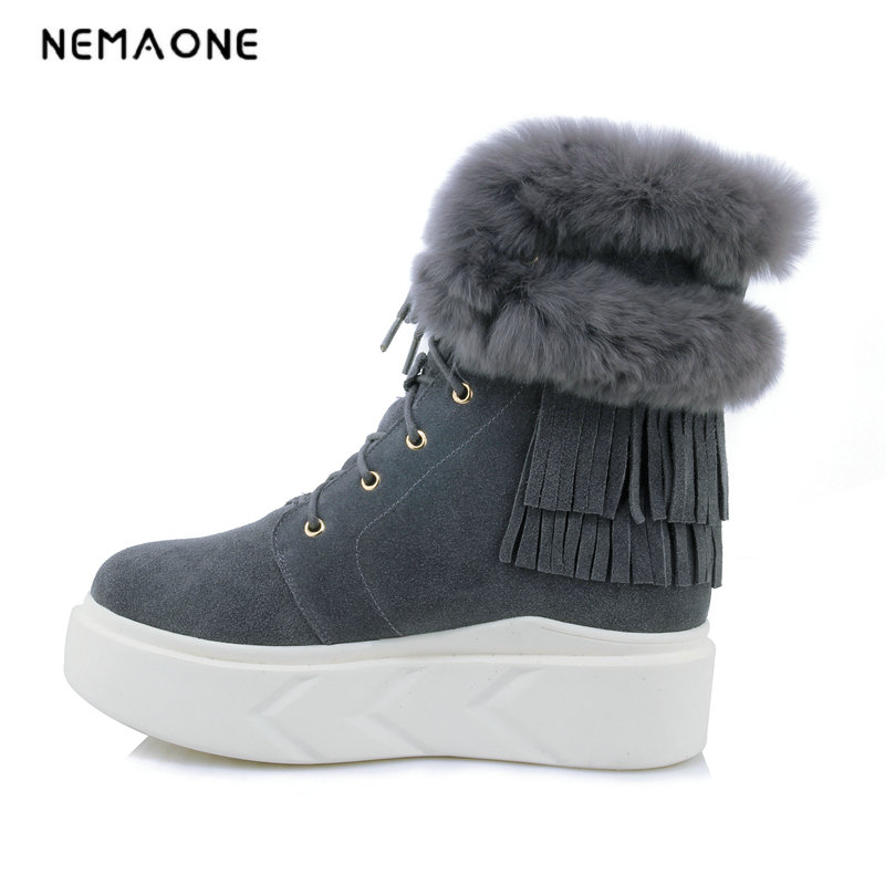 NEMAONE 2018 Fashion Top Quality fur Snow Boots Women Boots cow Leather Winter Warm Snow Boots Ankle Boots Free Shipping
