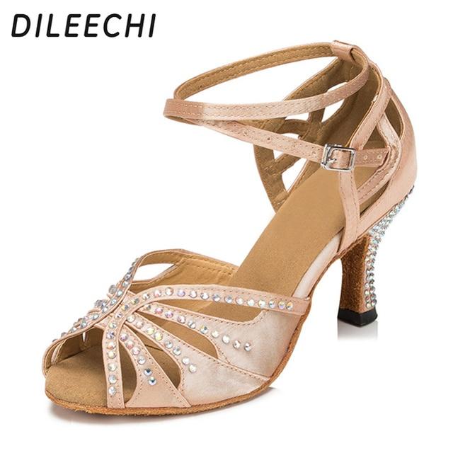 DILEECHI skin Ladies Flesh Satin Crystal Rhinestone Salsa Tango Ballroom  Dance Shoes Latin Dance Shoes Mambo Dance Shoes 64bec7c1107f