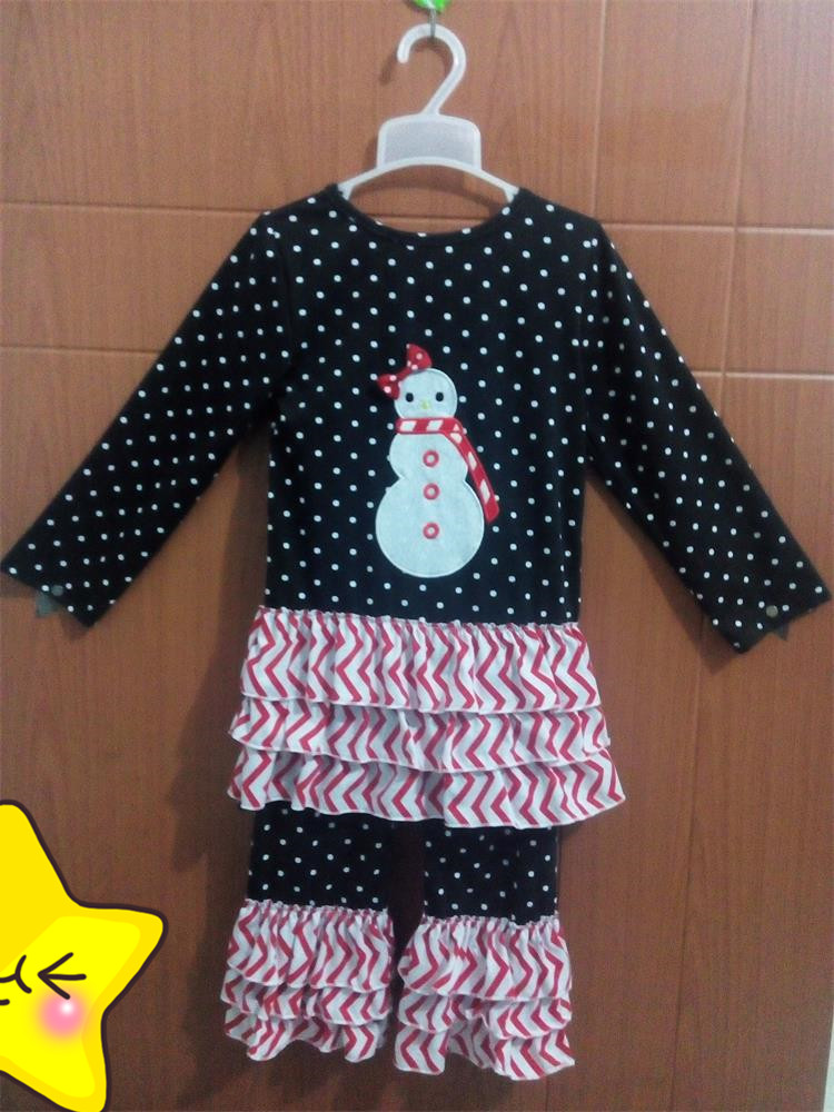 Cheap China Baby Girls Christmas Outfits Polka Dot Snowman Top With Bow Ruffle Pants Winter Kids Boutique Clothing C015