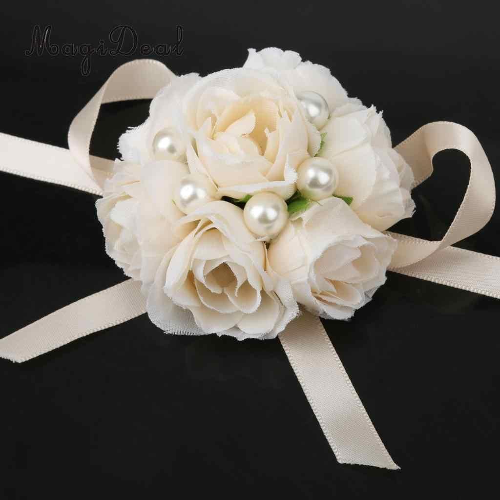 2 pieces סט כלה יד זר פרחי שושבינה צמיד פרל פרחי תלבושות
