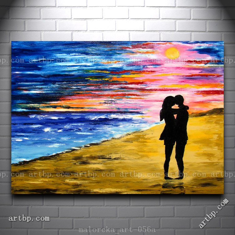 Sunrise Love Couple At Beach Ocean Summer Original Oil