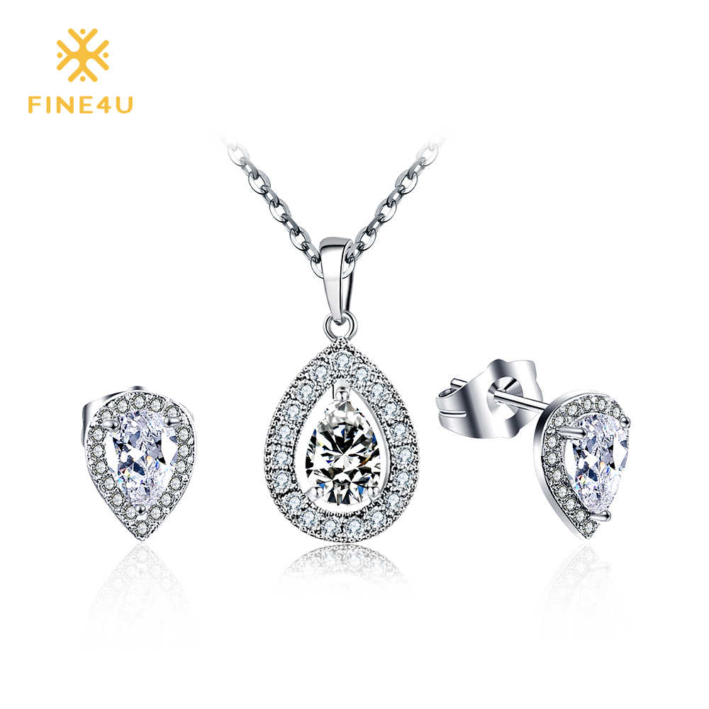 2018 New Fashion FINE4U N021 Stainless Steel Cubic Zirconia Necklace & Earrings Jewelry Sets For Women Wedding Party Jewelry set
