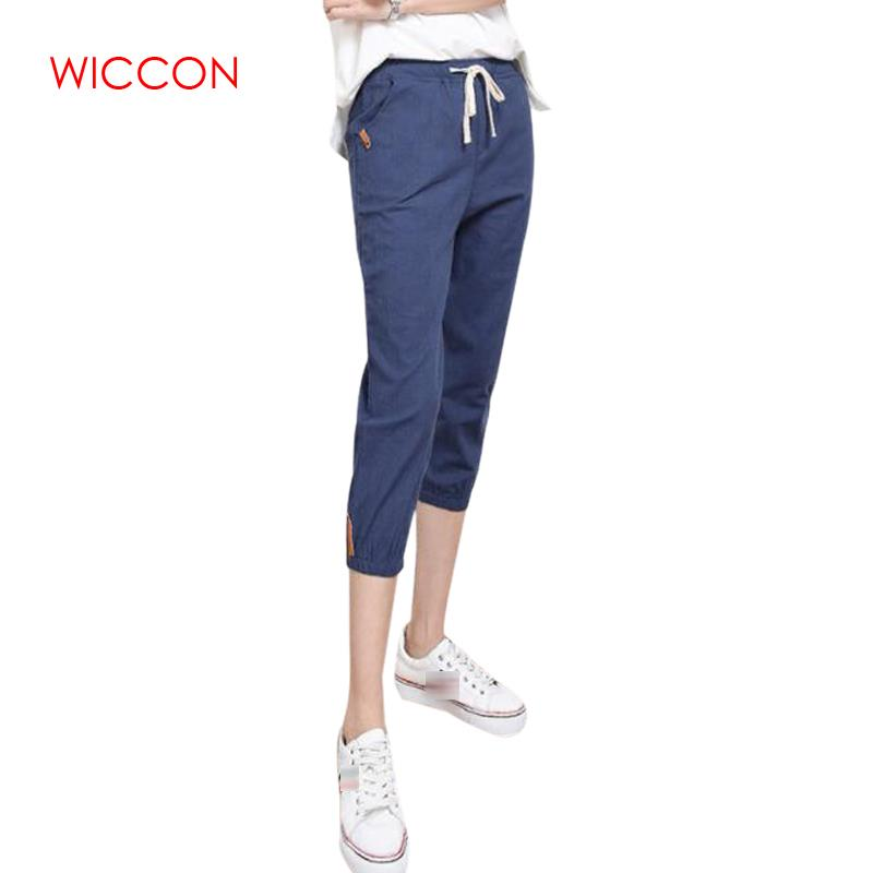 Women Linen   Pants   Summer Calf Length Harem   Pants   Colorful Casual Elastic Waist   Pants     Capris   Trousers Plus Size S-3XL