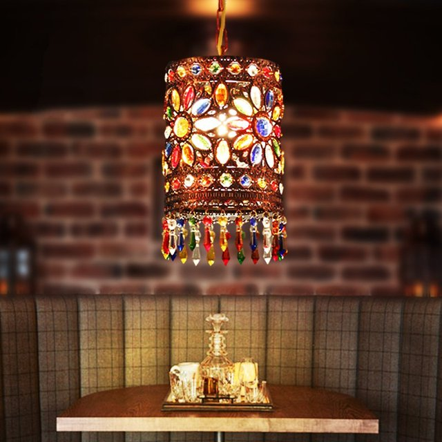 Southeast Asia Colourful Crystal Single Head Chandelier Cafe Bar Living Room Restaurant Decoration Free Shipping