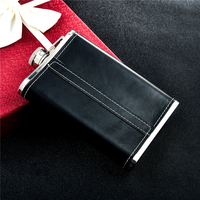Black Leather Mini Hip Flask