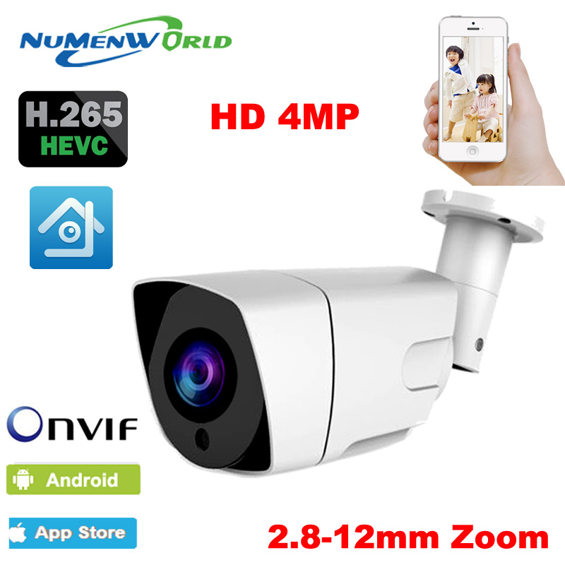 Numenworld H.265 4X Auto Zoom 2.8mm-12mm Motorized Lens IP Camera 4MP IR Bullet Outdoor Security Camera IP 42PCS LED Xmeye h 265 ip camera hd 4mp ip camera 4mp outdoor bullet security camera 1080p lens 3 6mm xmeye hi3516c 48v poe optional