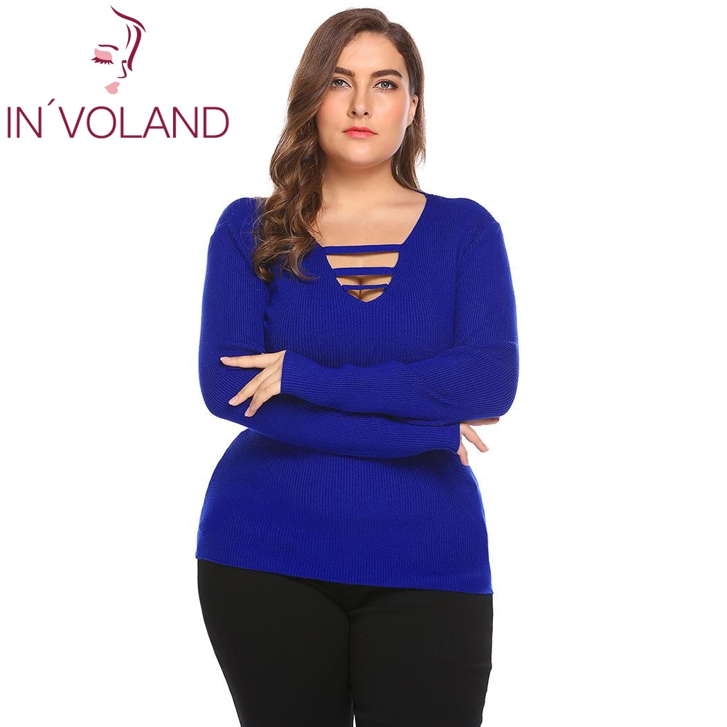 IN'VOLAND Grande Taille L-3XL Femmes Pulls Chandail 2017 Automne V-cou Dentelle-up À Manches Longues Solide Mince Tricot Grand Tops plus la Taille