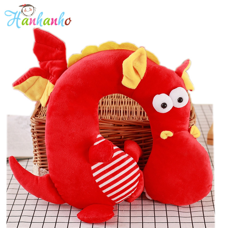 Cute Dragon Soft U Shape Pillow Children Travel Headrest Cushion Cartoon Plush Toy Neck Pillow Children Gift cute 1pair 33cm funny stitch lovely plush car soft headrest vehicle bone rest neck pillow stuffed toy