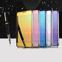 10pcs For Samsung Galaxy A5 A3 A7 J1 J5 J7 S6 S7 Edge Smart Mirror Case Cover Flip Clear View Transparent Electroplating Hard