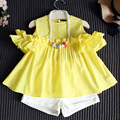 heat! 2016 baby clothes summer children's suits girls cute strapless dress wood ear shirt + pants suit two sets 1-7 years old