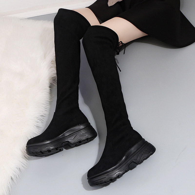 Image 5 - Women Elastic Long Boots Fashion Over The Knees Long Flat Boots Increased Wedges Women Boots Spring Autumn Winter Women ShoesOver-the-Knee Boots   -