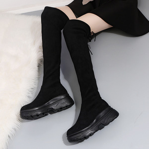 Image 5 - Women Elastic Long Boots Fashion Over The Knees Long Flat Boots Increased Wedges Women Boots Spring Autumn Winter Women Shoes
