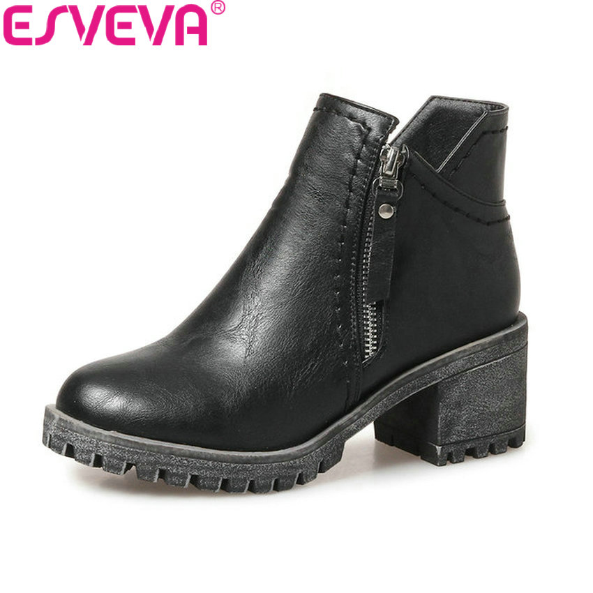 ESVEVA 2018 Out Door Women Boots Zipper Square High Heel Platform 1.5 Ankle Boots Short Plush Round Toe Ladies Boots Size 34-43 silver and gold short boots women sandals hollow out back zipper open toe high heel stilettos plus size fold ankle boots