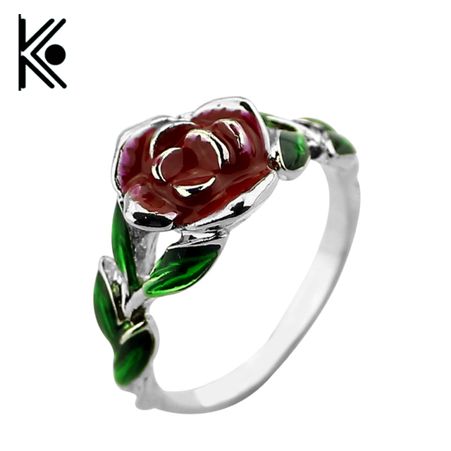 Drop shipping Beauty and the beast roses ring jewelry Men and women ...