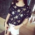 2016 verão novo coreano moda sexy oco cinco de costura solta t-shirt de estrelas