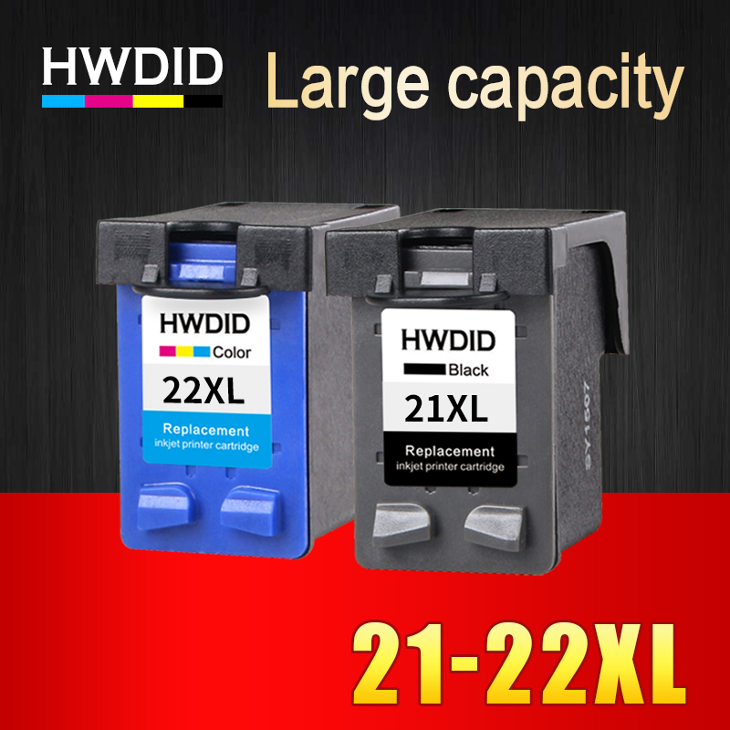 2 Pcs Ink Cartridge for HP 21 22 XL  For HP cartridges 21 and 22   for  HP Deskjet 3915 D1530 D1320 F2100 F2280 F4100 F4180 1pcs tri color remanufactured ink cartridge cc644ee for hp300xl hp300 deskjet d1660 d2500 2560 photosmart c4635 c4680 c4780 4688