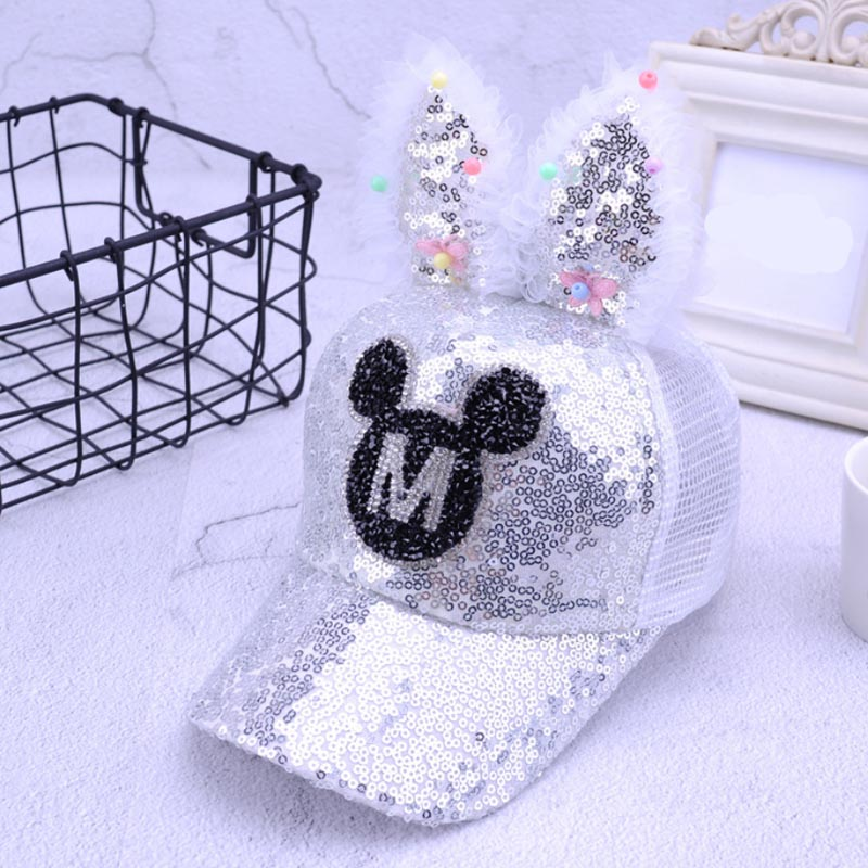 2018 Cute Girls Sequins Rabbit ears Baseball Caps Children Snapback Mesh Summer Adjustable Sun Hats Decoration
