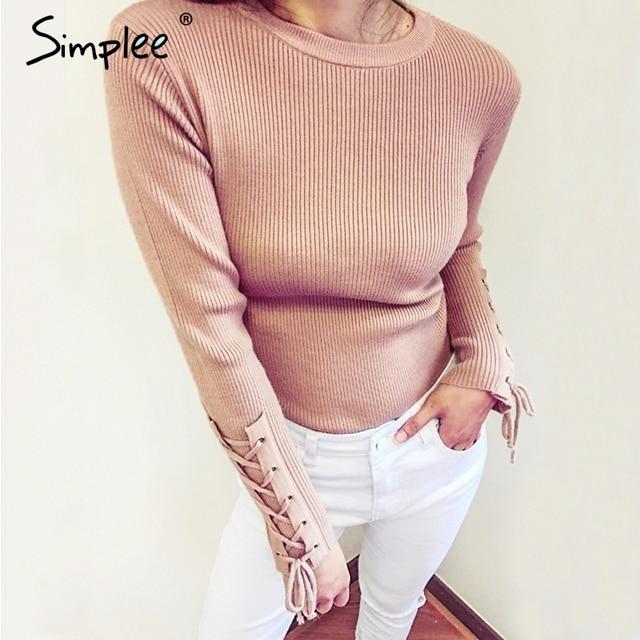 Simplee Повседневное на шнуровке рукавами вязаный свитер Для женщин джемпер Круглая горловина Вязание основной пуловер осень 2017 г. зимний свитер пуловер