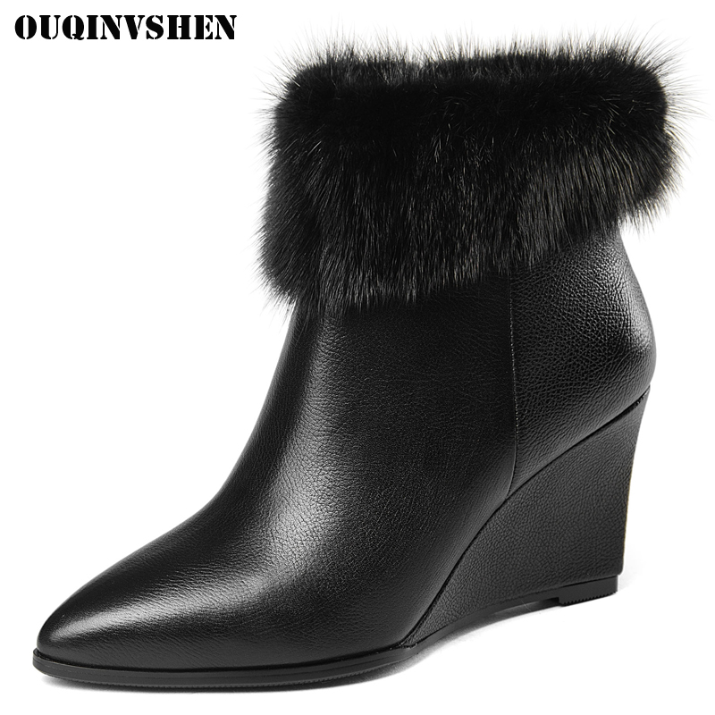 OUQINVSHEN Zipper Pointed Toe Wedges Women Boots Casual Fashion Fur Women Ankle Boots 2017 New Winter Short Plush Ladies Boots ouqinvshen round toe lace up women boots fashion mixed colors women ankle boots new winter short plush cross tied ladies boots